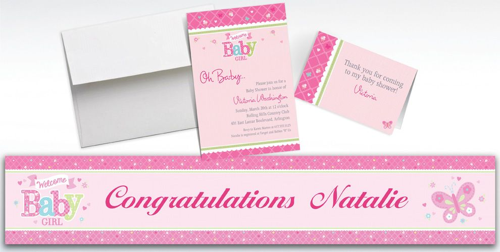 Custom Welcome Little One Girl Baby Shower Invitations & Thank You ...