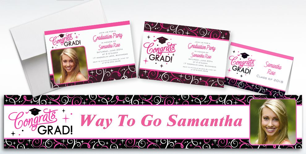 Custom Sparkling Grad Invitations and Thank You Notes