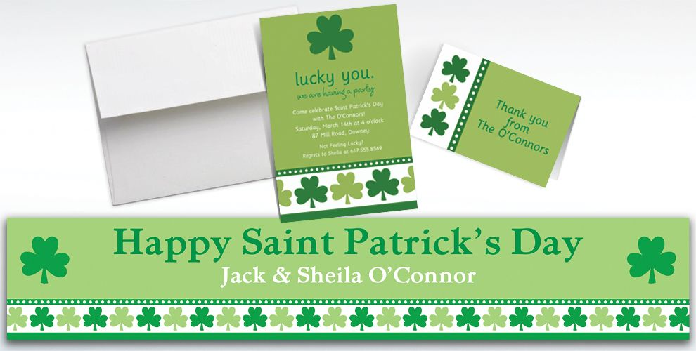 Custom Lucky Shamrocks Invitations and Thank You Notes