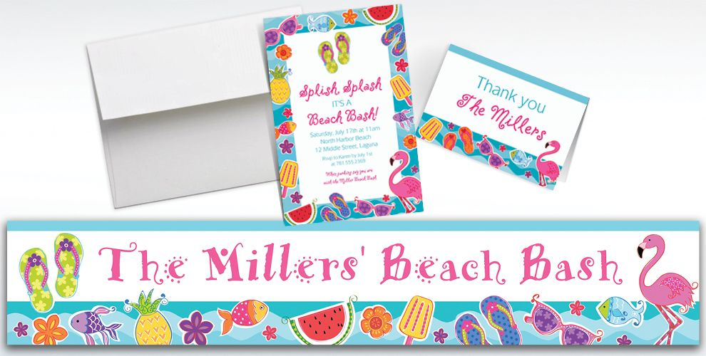 Custom Summer Fun Invitations and Thank You Notes