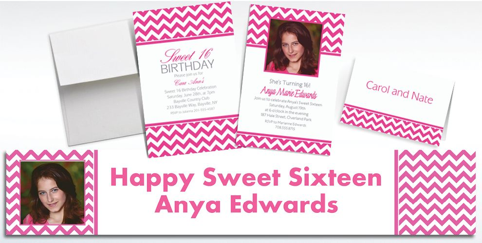 Custom Bright Pink Chevron Invitations and Thank You Notes