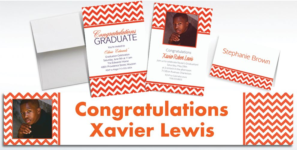 Custom Orange Chevron Invitations and Thank You Notes