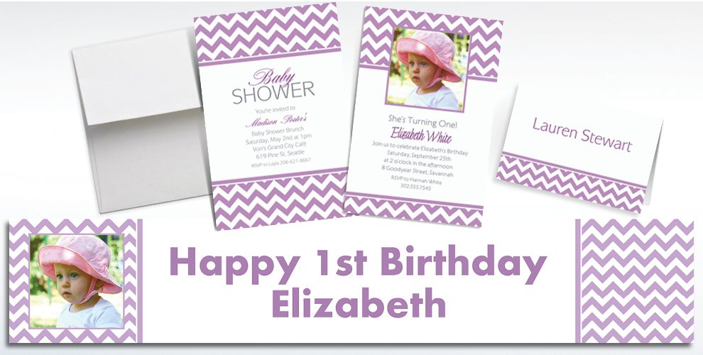 Custom Lavender Chevron Invitations and Thank You Notes