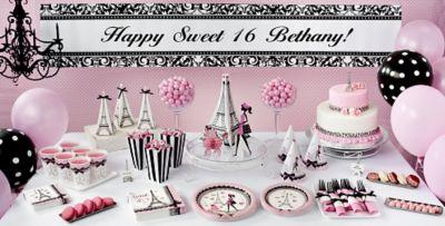 Pink Paris Sweet 16 Party Supplies  sc 1 st  Party City & Pink Paris Sweet 16 Party Supplies | Party City