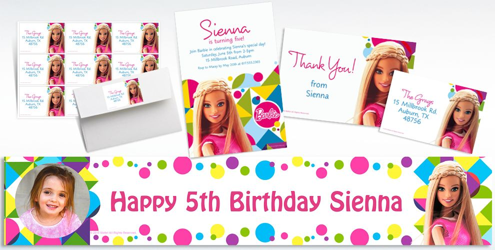 Custom Sparkle Barbie Invitations & Thank You Notes | Party City