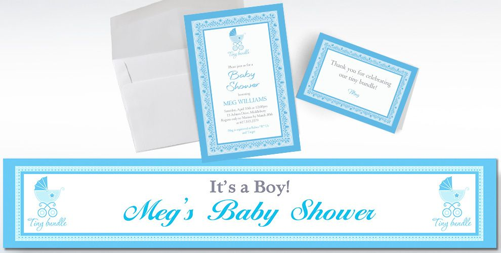 Custom Celebrate Baby Boy Invitations and Thank You Notes