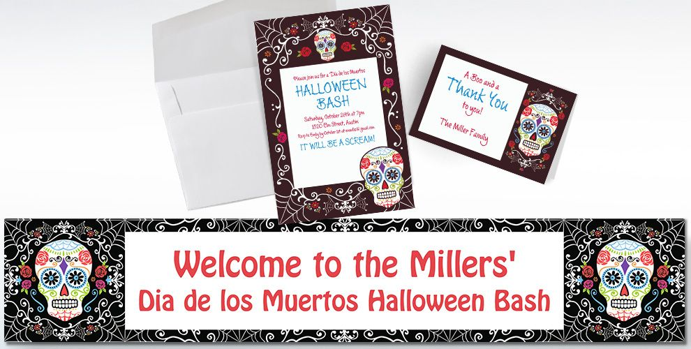 Custom Day of the Dead Invitations & Thank You Notes | Party City