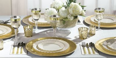 Cream Gold Trimmed Scalloped Premium Tableware & Cream Gold Trimmed Scalloped Premium Tableware | Party City