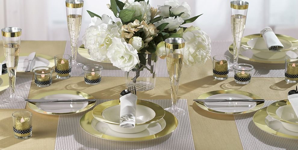 cream gold border premium tableware party city canada