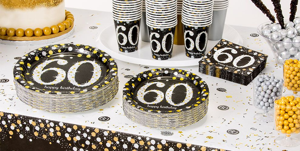 Patterned Tableware 50% OFF MSRP — Sparkling Celebration 60th Birthday Party Supplies