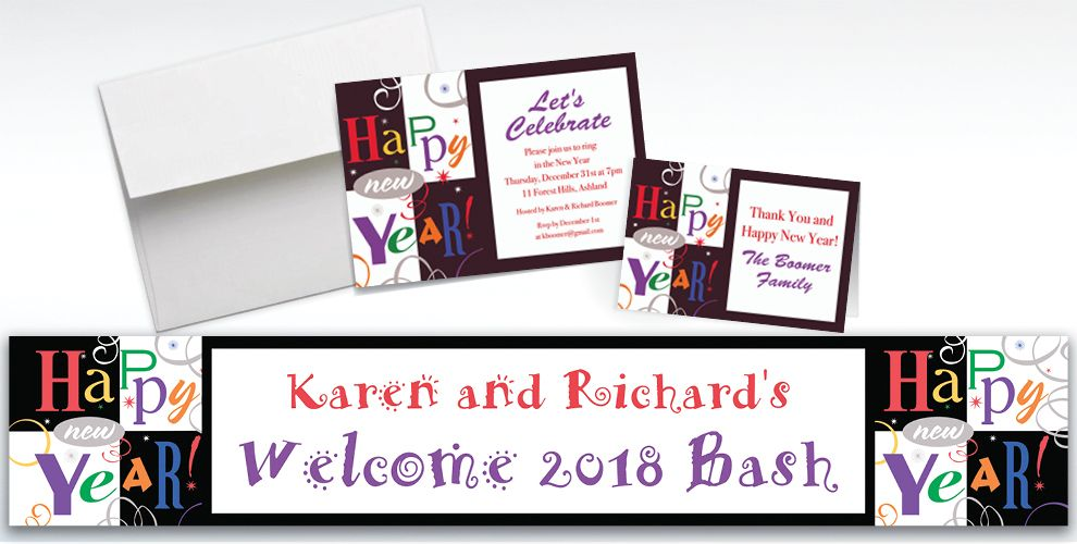 Custom Festive New Year Invitations and Thank You Notes
