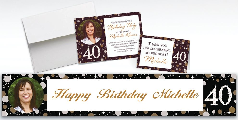 Custom Sparkling Celebration 40 Invitations and Thank You Notes
