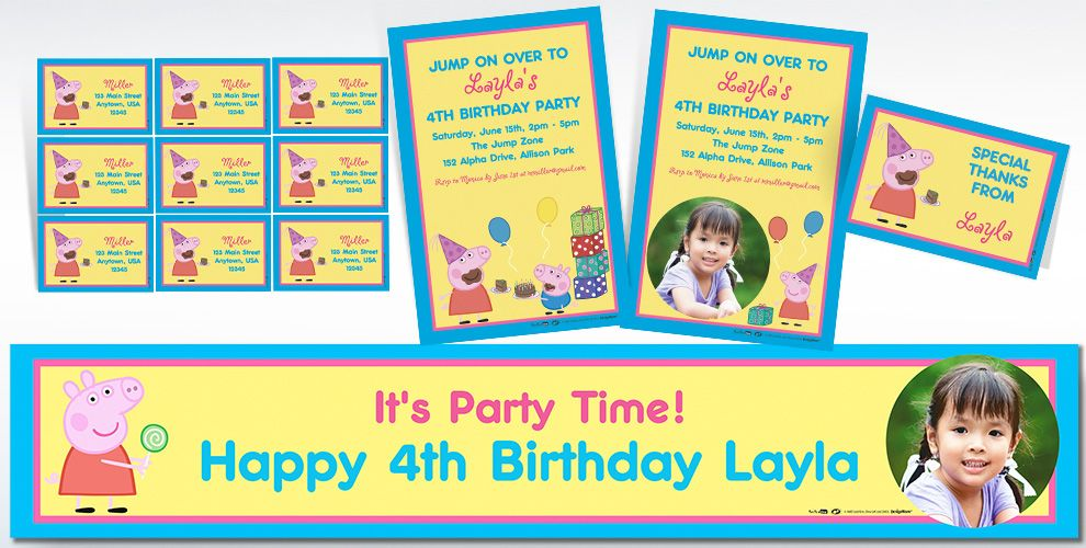 Custom Peppa Pig Invitations & Thank You Notes | Party City