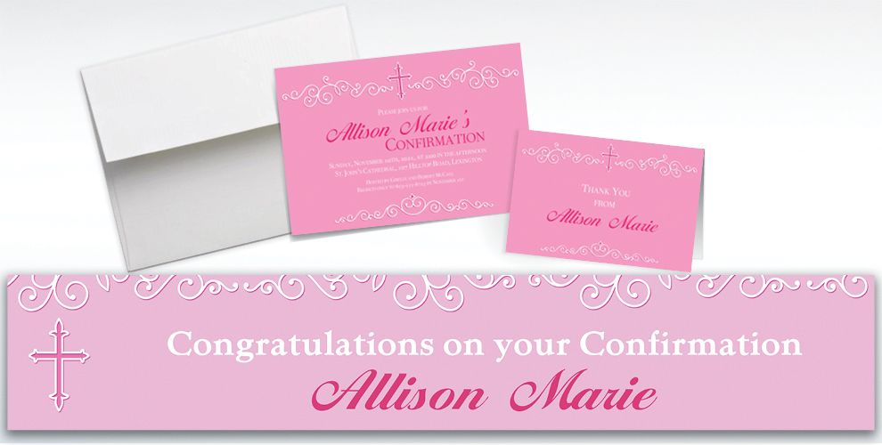 Custom Filigree and Cross Pink Invitations and Thank You Notes