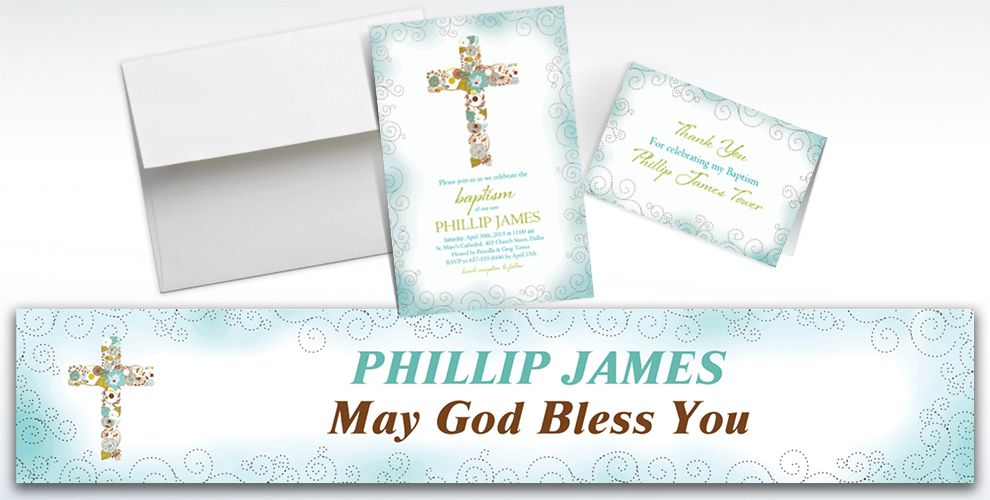 Custom Floral Cross Blue Invitations and Thank You Notes