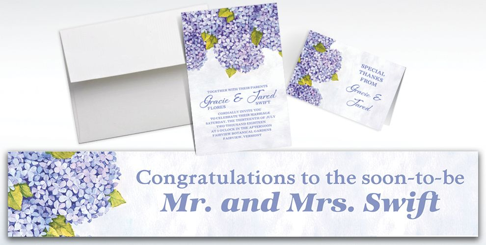 Custom Bundled Hydrangeas Invitations and Thank You Notes