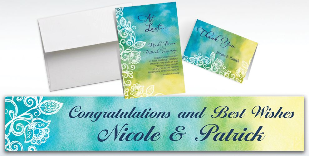 Custom Ombre Floral Cool Invitations and Thank You Notes