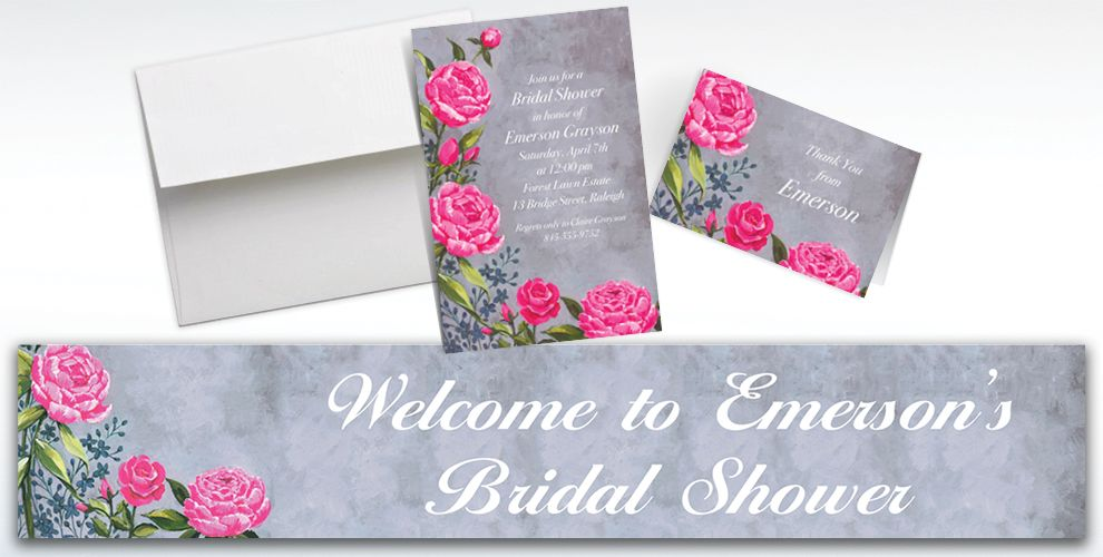 Custom Floral Brush Stroke Invitations and Thank You Notes