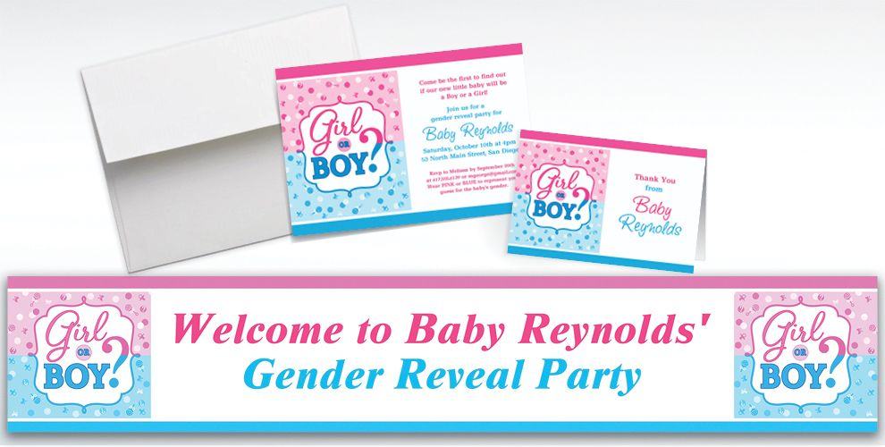 Custom Girl or Boy Gender Reveal Invitations and Thank You Notes