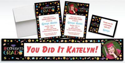 Custom Smiley Graduation Invitations Thank You Notes Party City