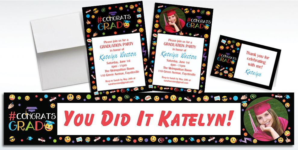 Custom Smiley Graduation Invitations and Thank You Notes