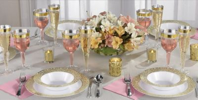 White Gold Lace Border Premium Party Supplies & White Gold Lace Border Premium Tableware | Party City Canada