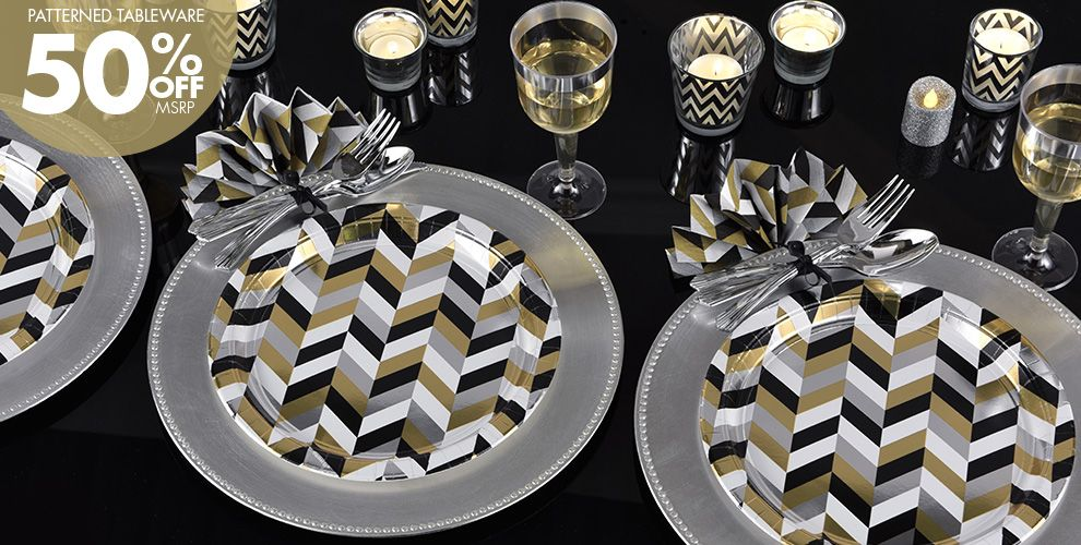 Metallic Black, Gold and Silver Herringbone Party Supplies