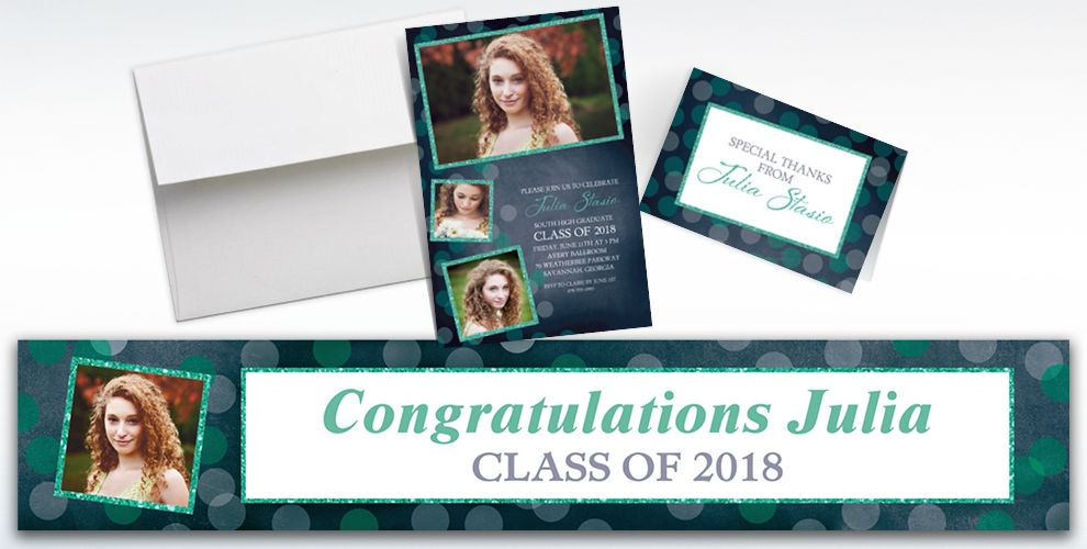 custom glitter mint frames and dots graduation banners, invitations and thank you notes