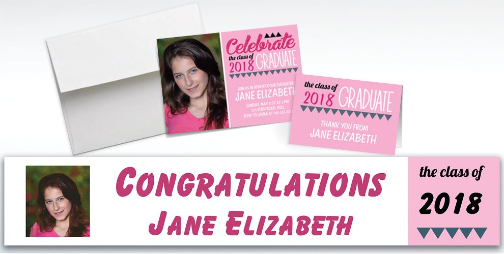 Custom Pink Pennant Banner Graduation Banners, Invitations and Thank You Notes