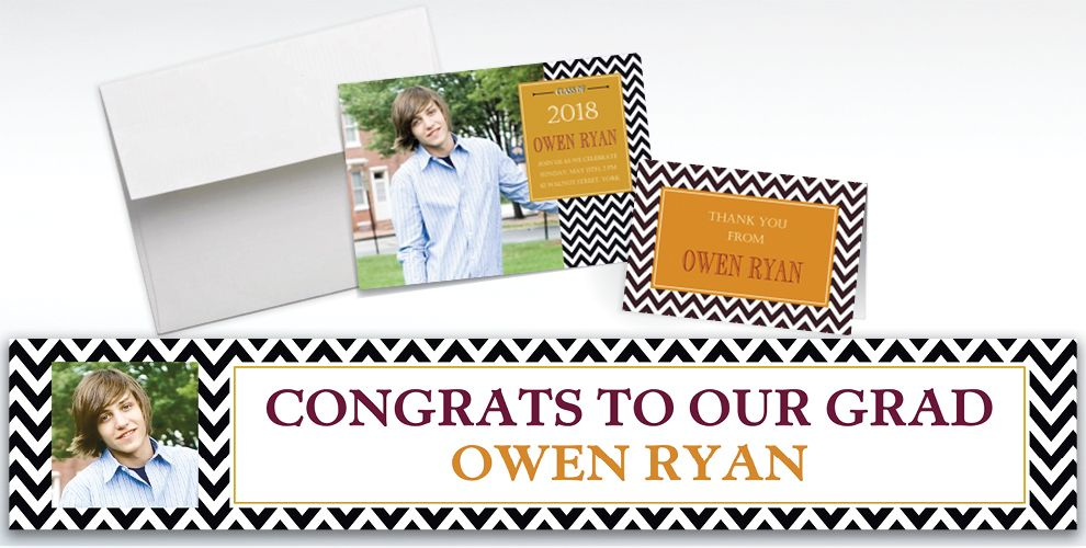 Custom Chevron and Matte Gold Graduation Invitations and Thank You Notes