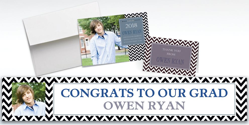 Custom Chevron and Matte Silver Graduation Invitations and Thank You Notes