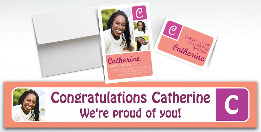 Custom Salmon Color Block Initial Graduation Banners, Invitations and Thank You Notes