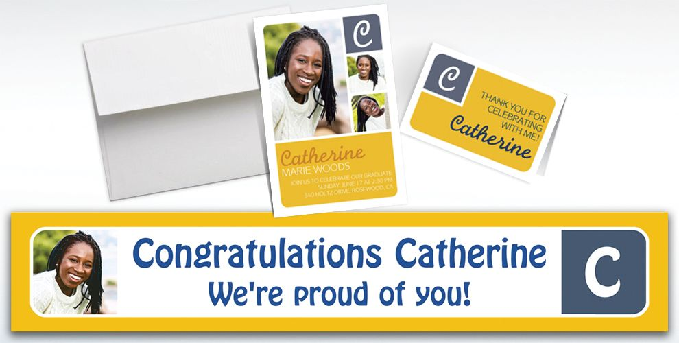 Custom Gold Color Block Initial Graduation Banners, Invitations and Thank You Notes