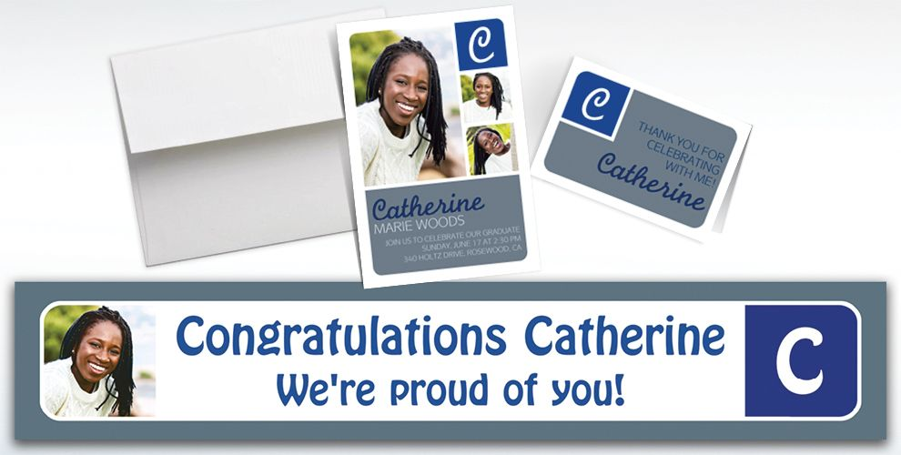 Custom Silver Color Block Initial Graduation Banners, Invitations and Thank You Notes