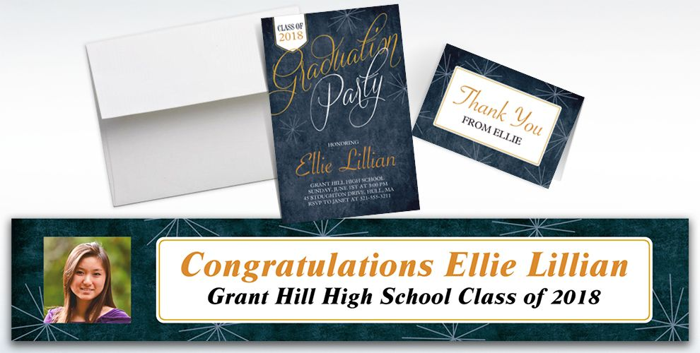 Custom Fireworks Script Graduation Banners, Invitations and Thank You Notes