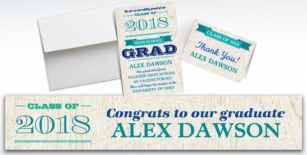 custom wood graduation banners, invitations and thank you notes