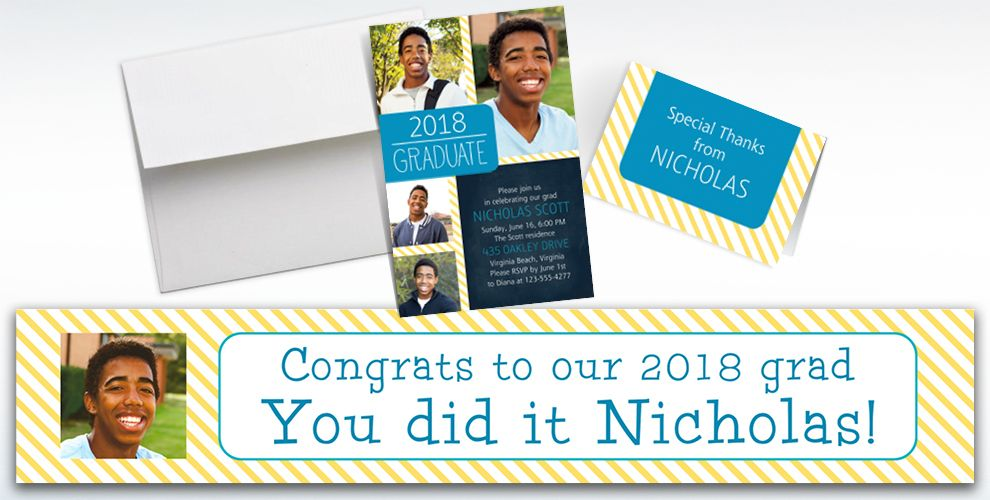 custom blue and yellow stripes graduation banners, invitations and thank you notes