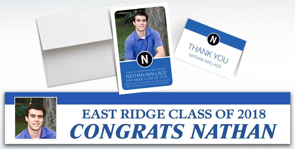 custom royal blue block initial graduation banners, invitations and thank you notes