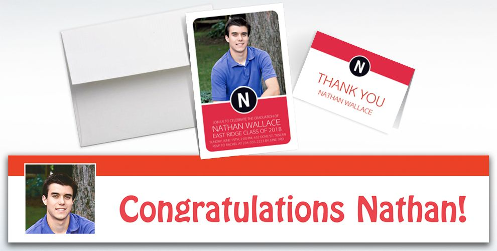 custom red block initial graduation banners, invitations and thank you notes