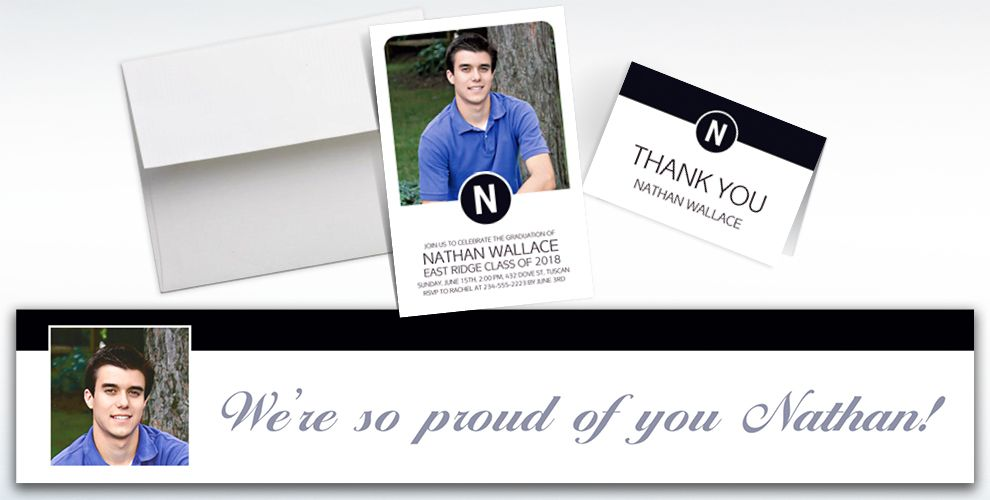 custom white block initial graduation banners, invitations and thank you notes