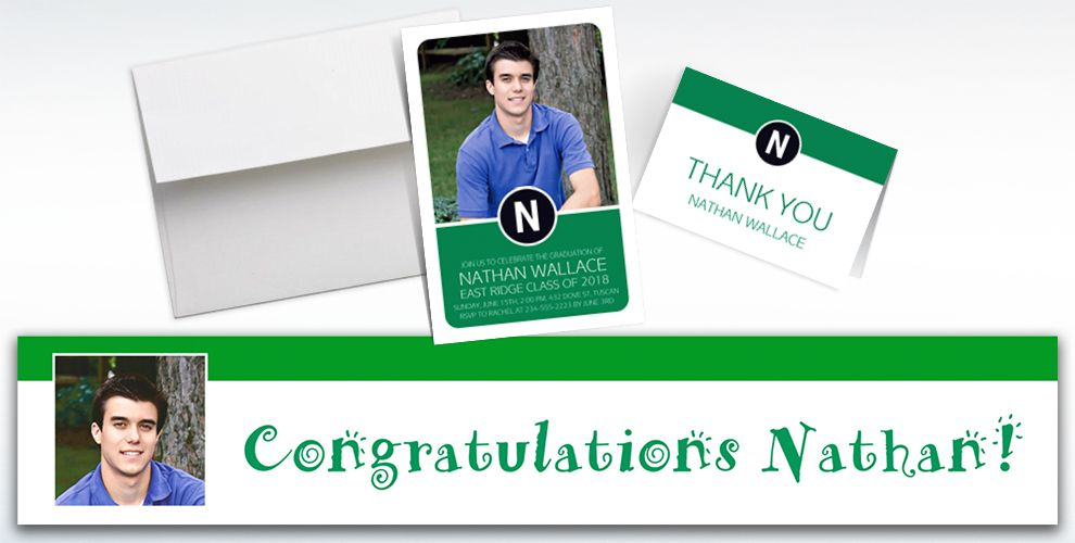 custom green block initial graduation banners, invitations and thank you notes