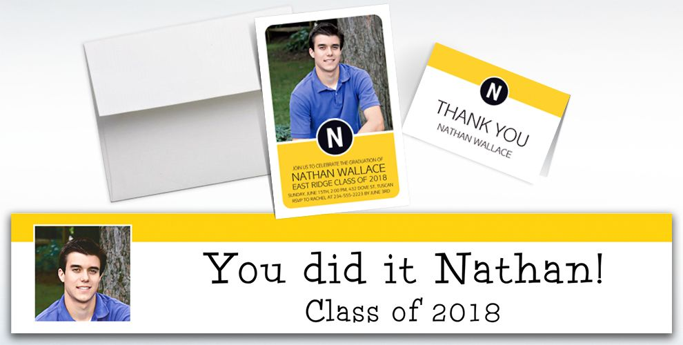 custom yellow block initial graduation banners, invitations and thank you notes