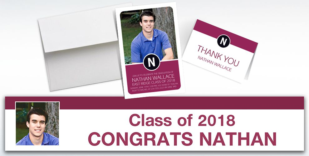 custom berry block initial graduation banners, invitations and thank you notes