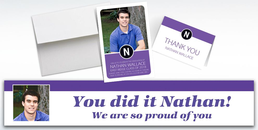 custom purple block initial graduation banners, invitations and thank you notes