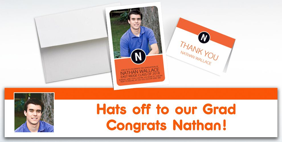 custom orange block initial graduation banners, invitations and thank you notes