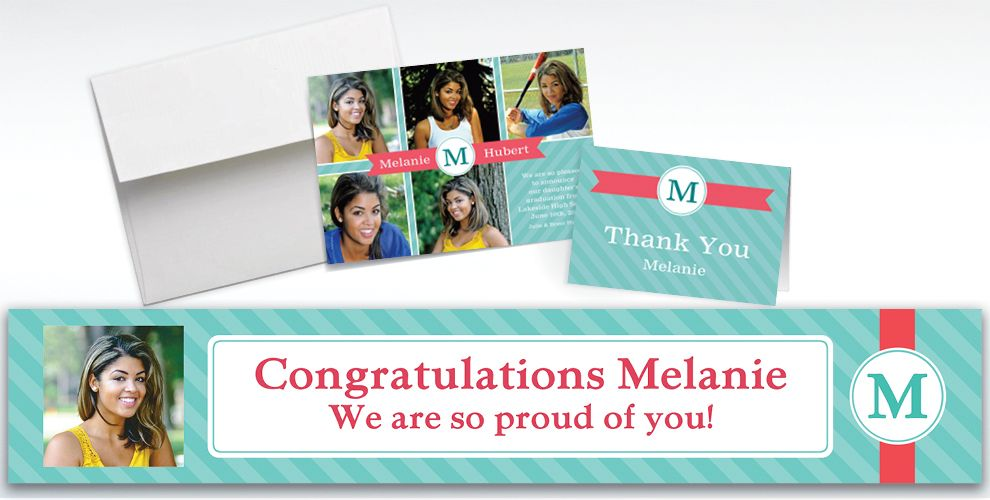 Custom Teal and Pink Initial Graduation Banners, Invitations and Thank You Notes