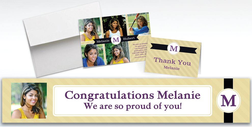 Custom Neutral Initial Graduation Banners, Invitations & Thank You Notes