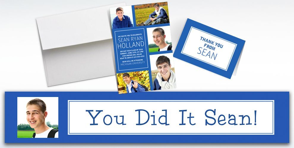 Custom Classic Royal Blue Graduation Banners, Invitations and Thank You Notes
