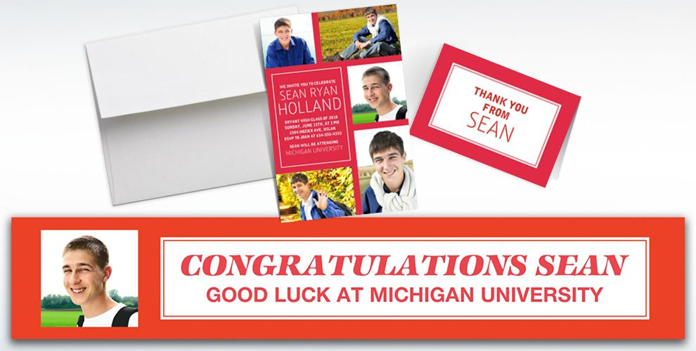 Custom Classic Red Graduation Banners, Invitations and Thank You Notes