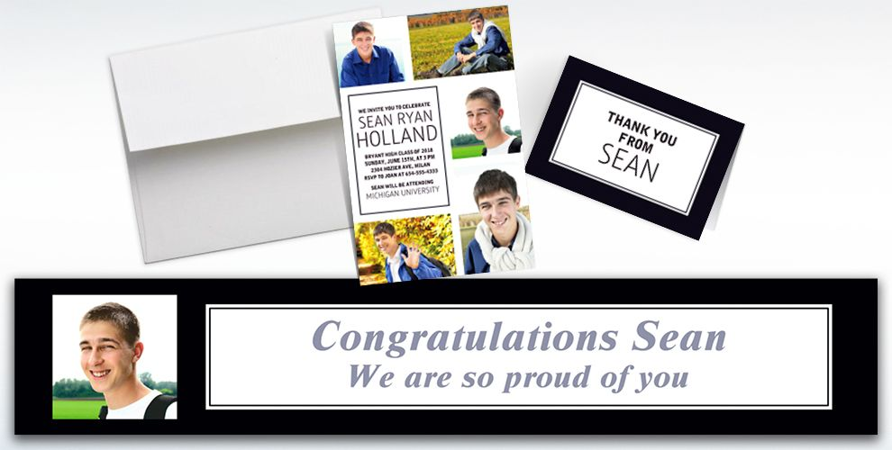 Custom Classic White Graduation Banners, Invitations and Thank You Notes